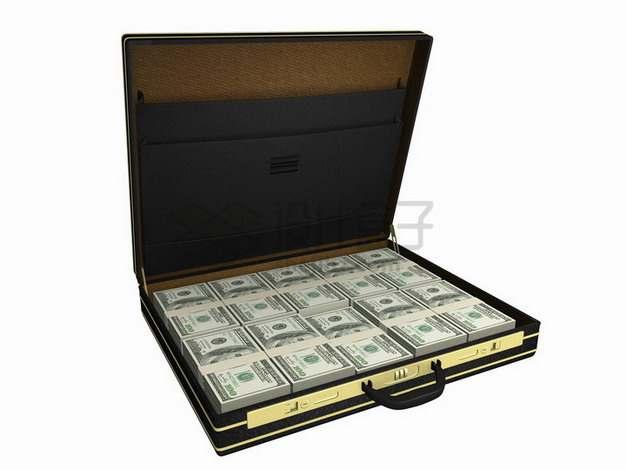 打开的箱子中满满一箱子钱美元钞票纸币png图片素材