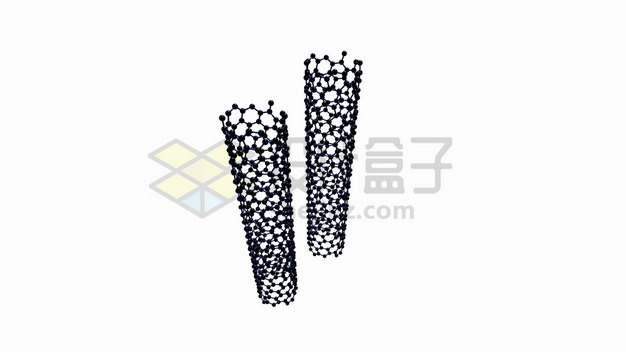 深蓝色石墨烯组成的碳纳米管圆柱体png图片素材