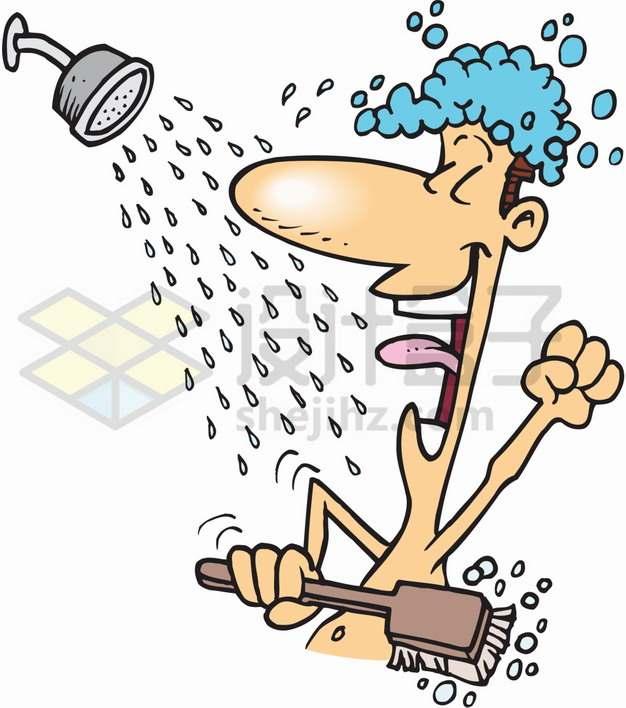 卡通男人正在洗澡5212875png图片素材