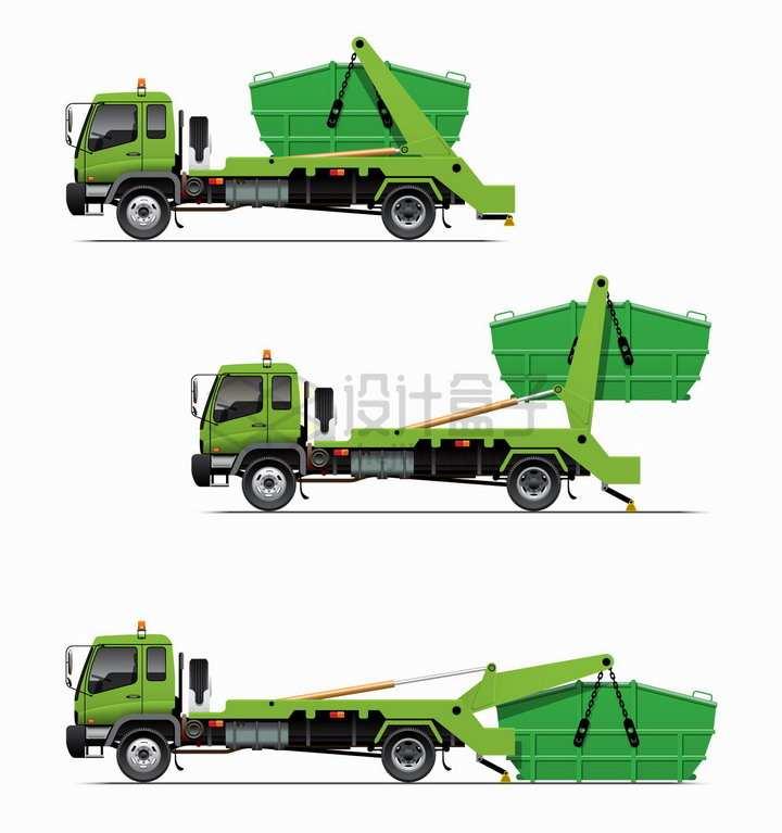 绿色垃圾处理车倒垃圾的处理过程png图片素材