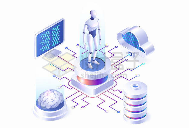 AI人工智能和云计算技术等前沿科技png图片素材