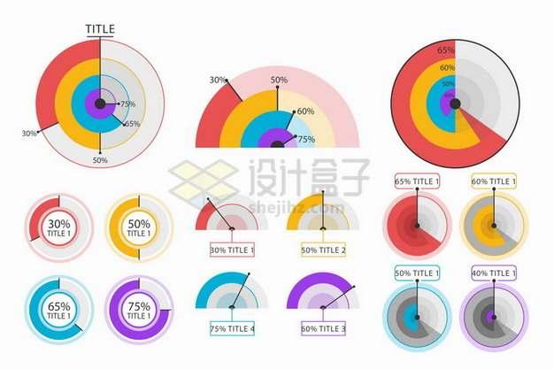 各种彩色雷达图PPT数据图表png免抠图片素材