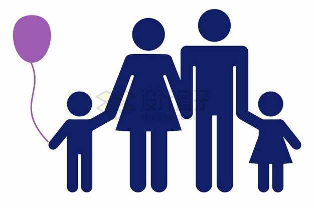 一家四口爸爸妈妈牵着儿子女儿的手标志符号国际家庭日png图片素材