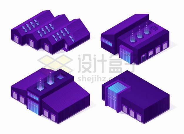 4款2.5D风格紫色的工厂厂房png图片素材