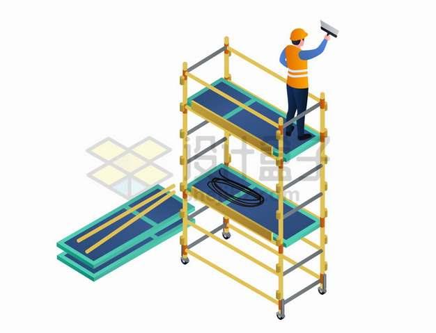 工人在移动脚手架上工作png图片素材