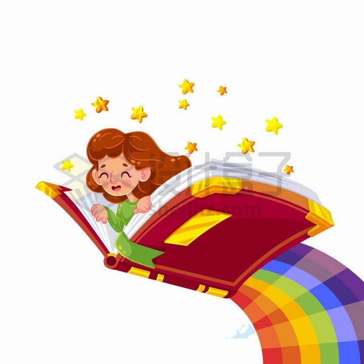 世界读书日卡通女孩趴在打开的书本上飞上了彩虹png图片免抠矢量素材