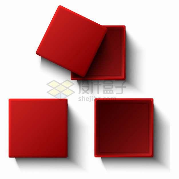 红色的方形珠宝盒礼物盒礼品盒子png图片素材