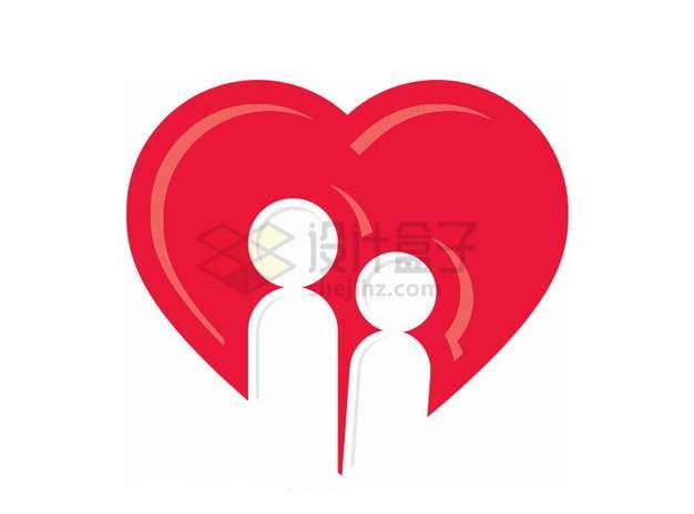 红心背景下两个情侣人物符号情人节png图片素材