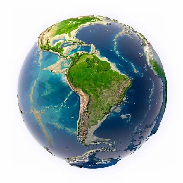 3D立体地球模型地形图定位在南美洲png图片素材