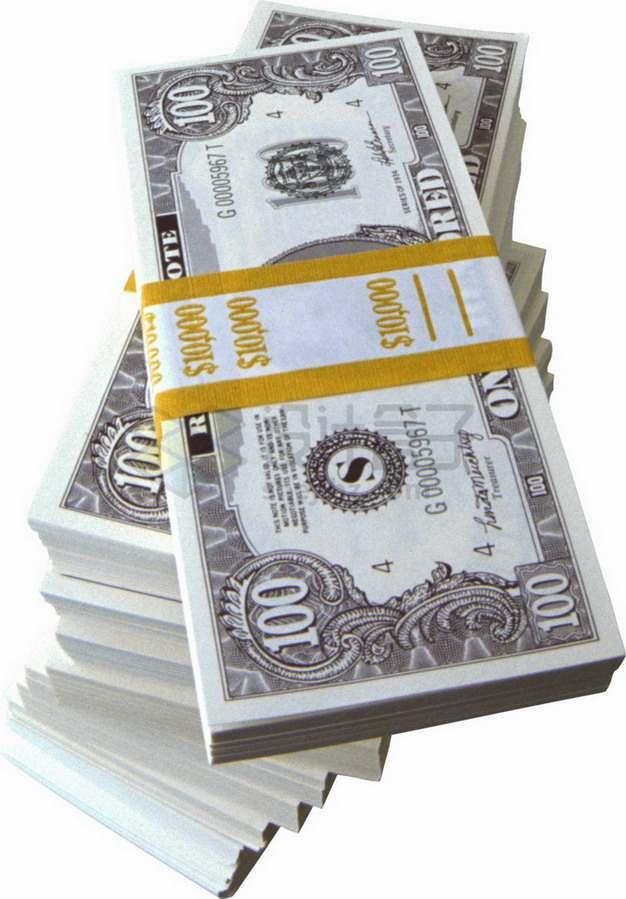 高高的一堆美元钞票纸币png图片素材