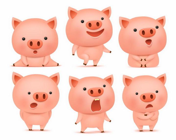 6款做出各种动作的可爱卡通小猪png图片免抠矢量素材 生物自然-第1张