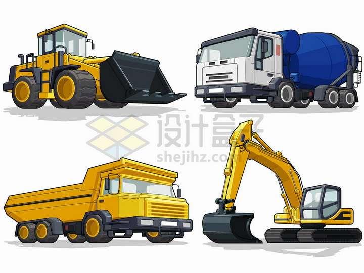 推土机水泥车重型载重卡车挖掘机挖土机等工程机械png图片免抠矢量素材