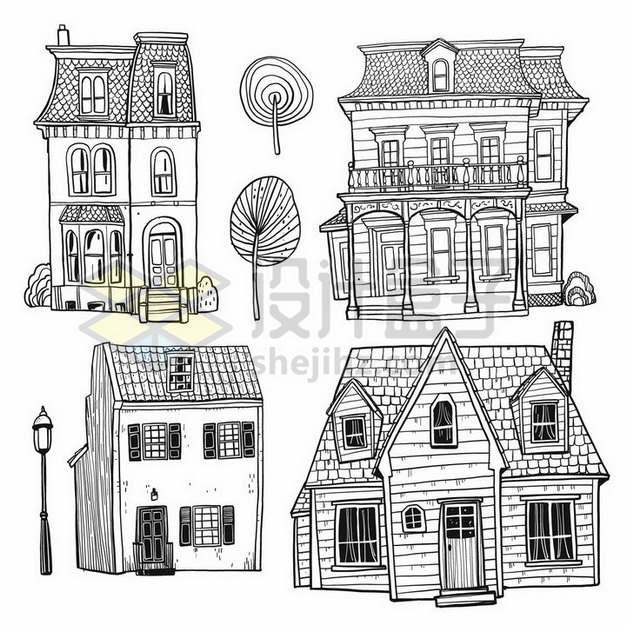 4款乡村小楼房手绘素描简笔画png图片素材