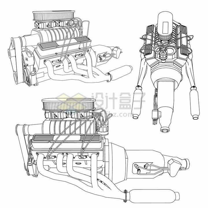 3款汽车发动机引擎手绘线条设计草图png图片素材