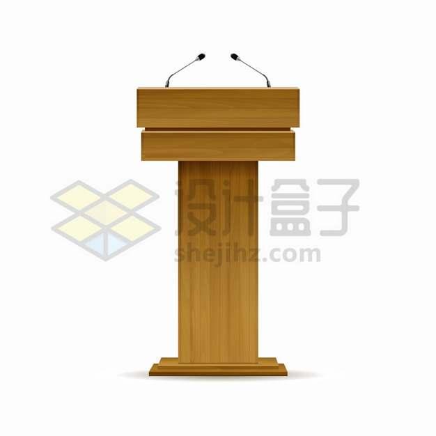 两支话筒的木制演讲台805724png图片素材