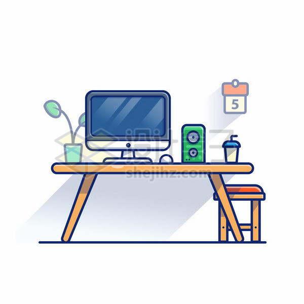 MBE风格木头桌子上的电脑和音箱png图片免抠矢量素材