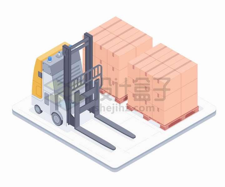 自动驾驶叉车和堆放得整整齐齐的货物png图片免抠矢量素材
