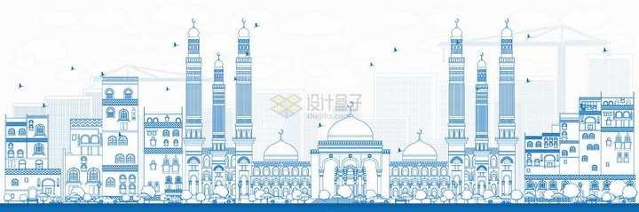 也门萨那蓝色线条城市天际线png图片素材