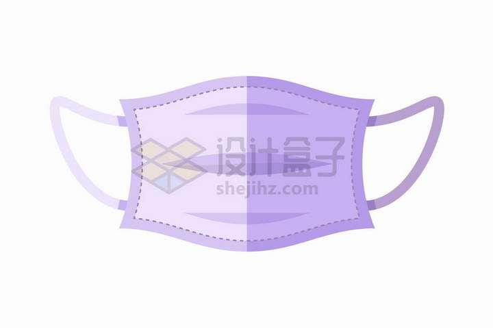 紫色的卡通一次性医用口罩带缝补虚线png图片免抠矢量素材