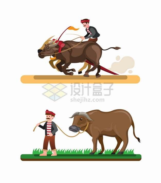 卡通农民和水牛赛跑和散步png图片素材
