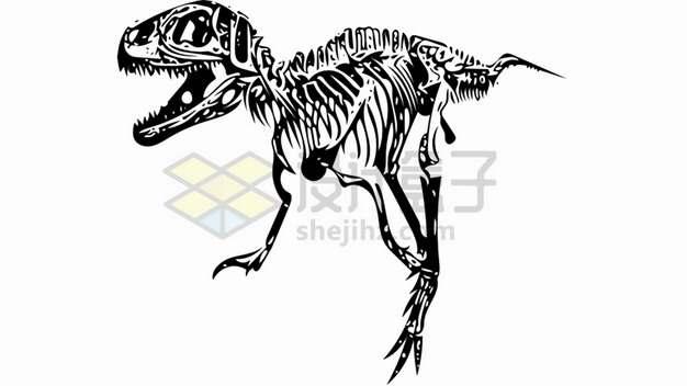 霸王龙特暴龙大型食肉恐龙骨架化石剪影png图片免抠素材