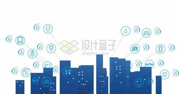 蓝色城市天际线剪影和5G技术的应用png图片素材