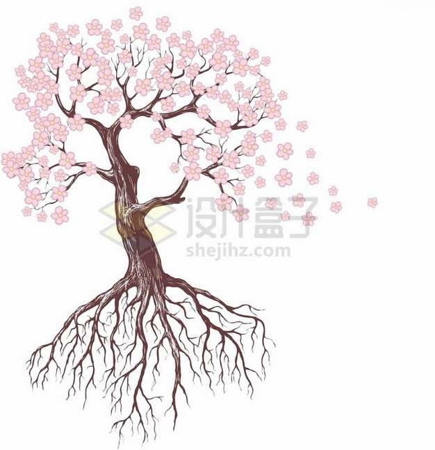 开满桃花的带树根桃树png免抠图片素材
