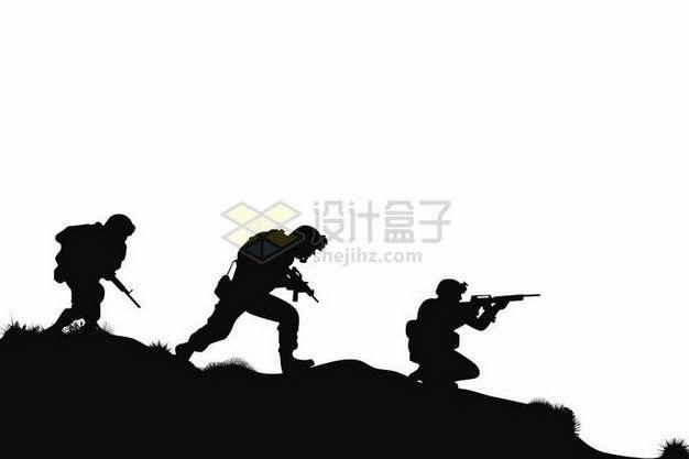 正在弯腰前进的3人战斗小分队士兵战士剪影png图片免抠矢量素材