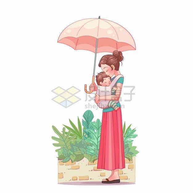 妈妈怀里抱着宝宝打着雨伞太阳伞亲子关系母亲节卡通插画png图片素材