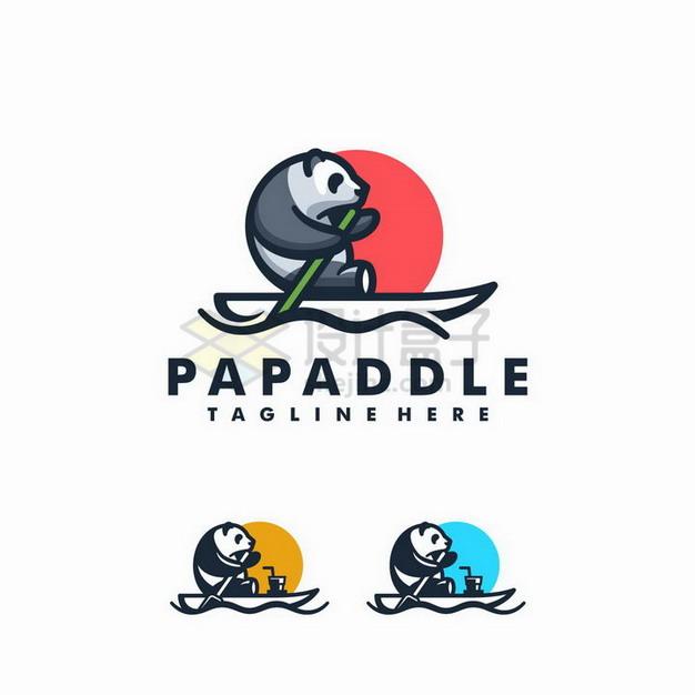 大熊猫划船logo设计方案png图片免抠矢量素材 标志LOGO-第1张