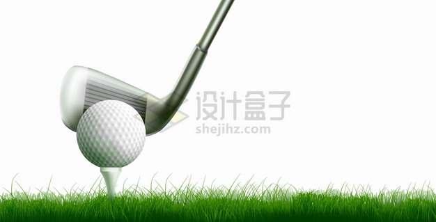 草坪上放在球座上的高尔夫球和球杆体育运动png图片素材
