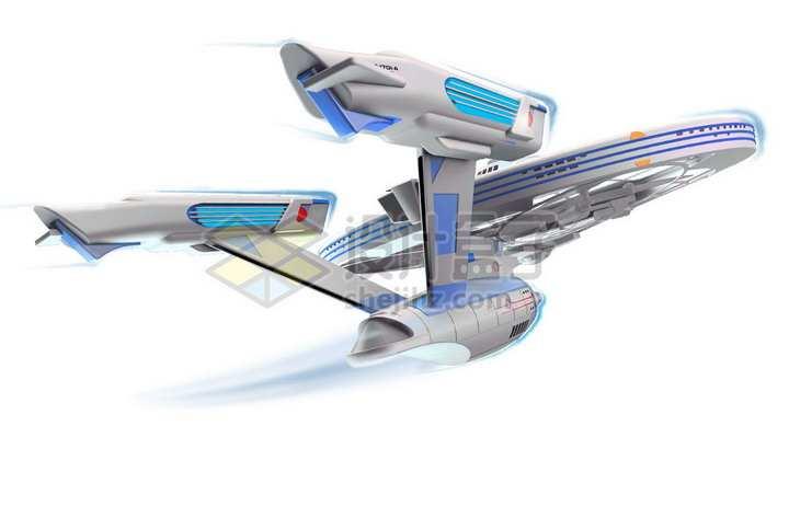 曲速引擎超光速飞行中的星际迷航发现号星舰png图片免抠素材