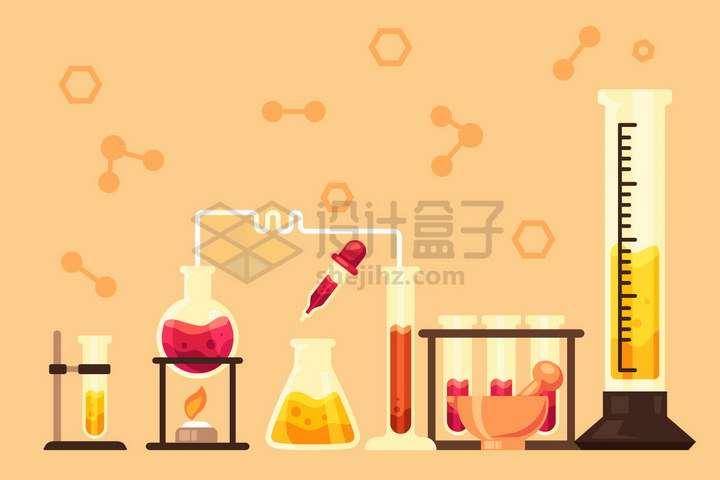卡通试管架酒精灯滴管锥形瓶量筒等化学实验仪器装置png图片免抠矢量素材