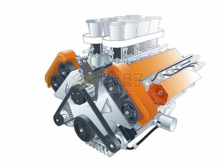 汽车发动机引擎结构图png图片素材