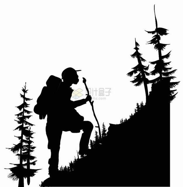 登山者户外徒步旅行剪影png图片素材