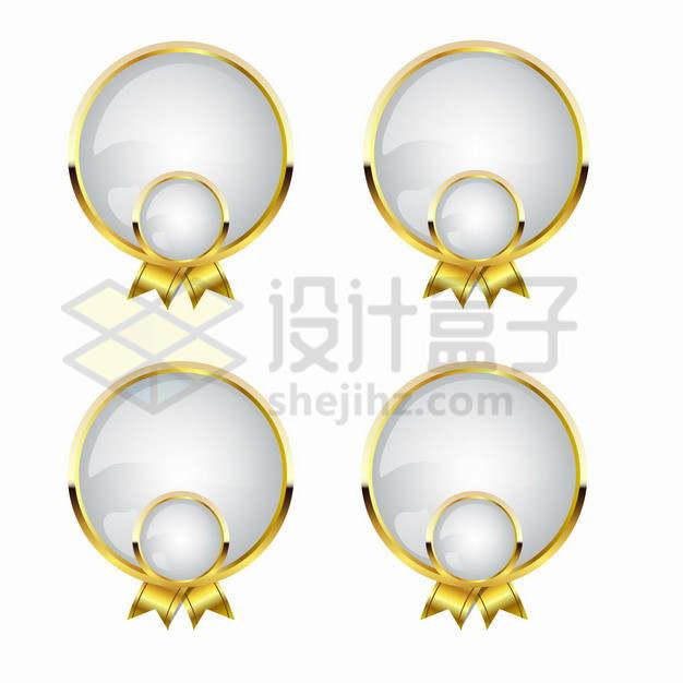 金色金属光泽边框白色玻璃效果徽章勋章png图片素材