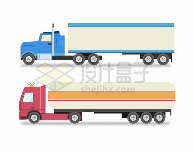 2款蓝色红色涂装的厢式货车和油罐车大卡车侧视图png图片素材