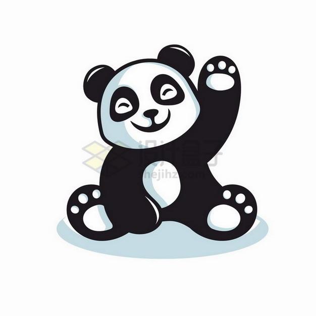 跟你打招呼的卡通熊猫png图片免抠矢量素材 生物自然-第1张