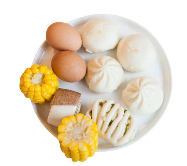 水煮鸡蛋包子馒头花卷玉米等美味营养早餐png图片素材
