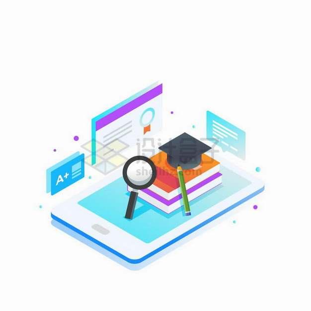 2.5D风格手机上的书本象征了远程教学在线网络授课png图片免抠矢量素材