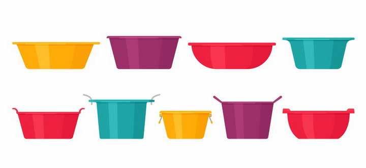 9款扁平化风格的彩色脸盆洗衣盆等png图片免抠矢量素材