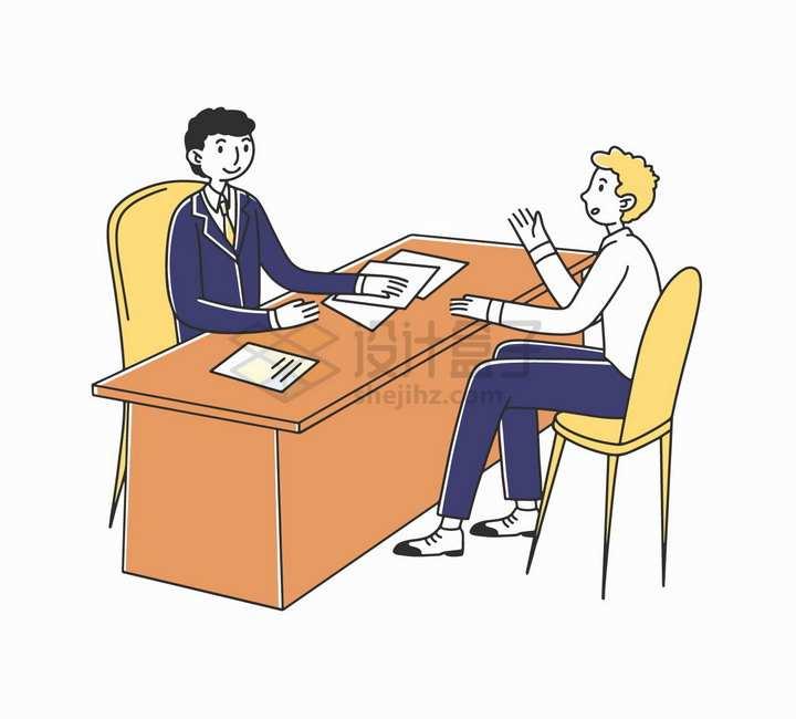 面对面坐着的两个商务人士招聘面试手绘插画png图片素材