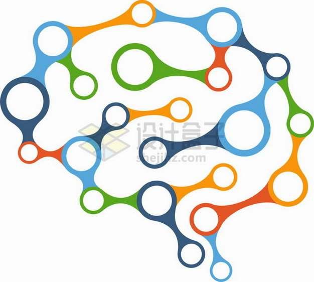 彩色链条组成的人体大脑图案png图片素材