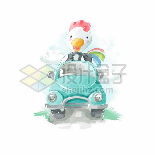 卡通白色鸭子驾驶着绿色汽车水彩插画png图片素材 生物自然-第1张