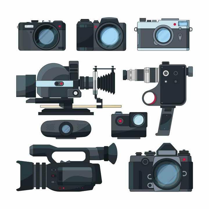 各种扁平插画风格数码单反照相机和摄像机png图片免抠矢量素材