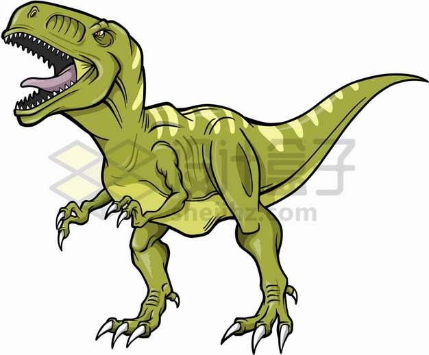 手绘卡通风格绿色的霸王龙大型食肉恐龙png图片免抠素材