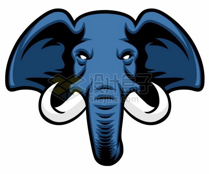 蓝色的大象头png图片免抠矢量素材 生物自然-第1张