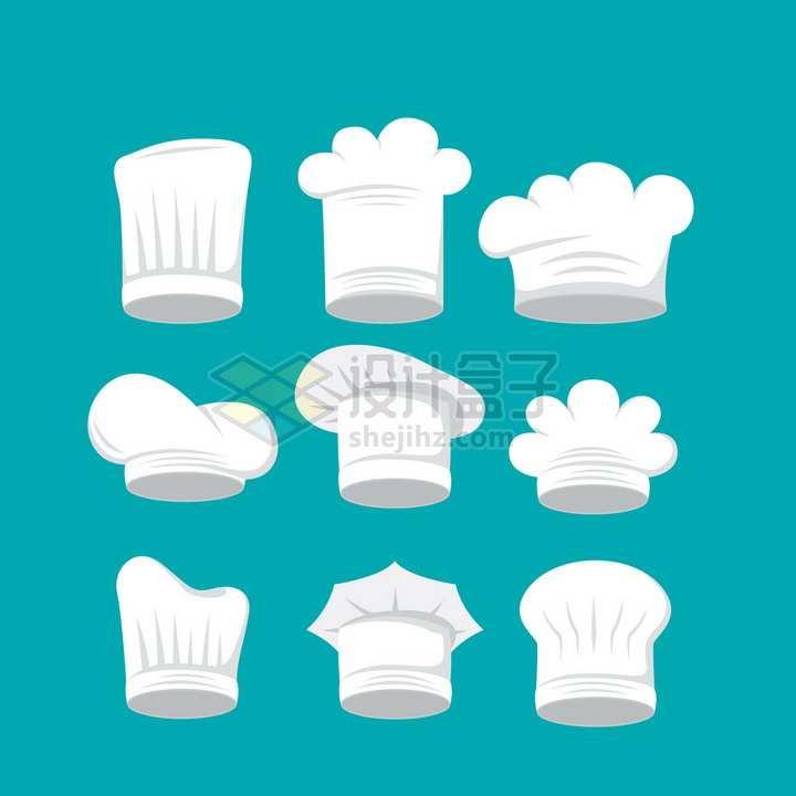 9款白色厨师帽扁平插画png图片素材