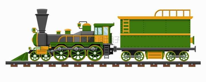 绿色卡通蒸汽火车头png图片素材