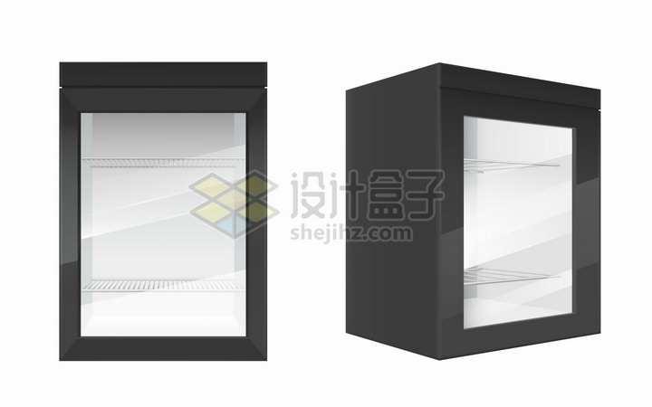 黑色的迷你小电冰箱2个不同状态png图片素材